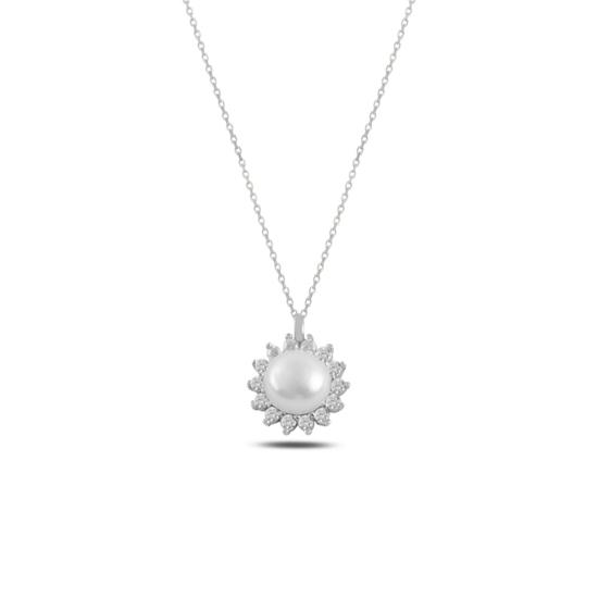 Ürün resmi: Rodyum Kaplama Tektaş İnci & Zirkon Taşlı Gümüş Bayan Kolye