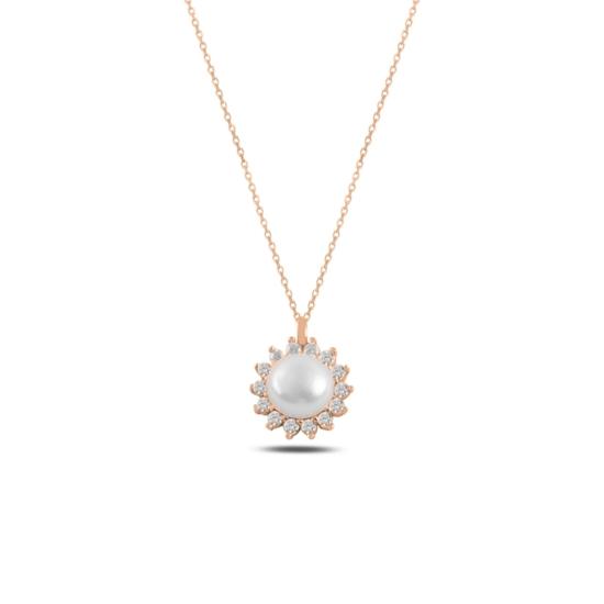Ürün resmi: Rose Kaplama Tektaş İnci & Zirkon Taşlı Gümüş Bayan Kolye