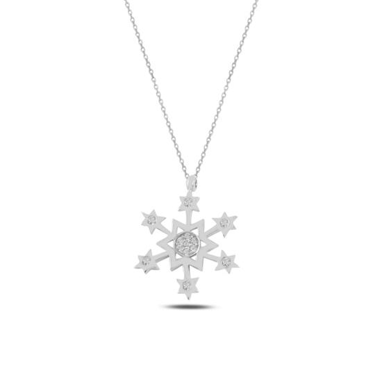 Ürün resmi: Rodyum Kaplama Kar Tanesi & Yıldız Zirkon Taşlı Gümüş Bayan Kolye