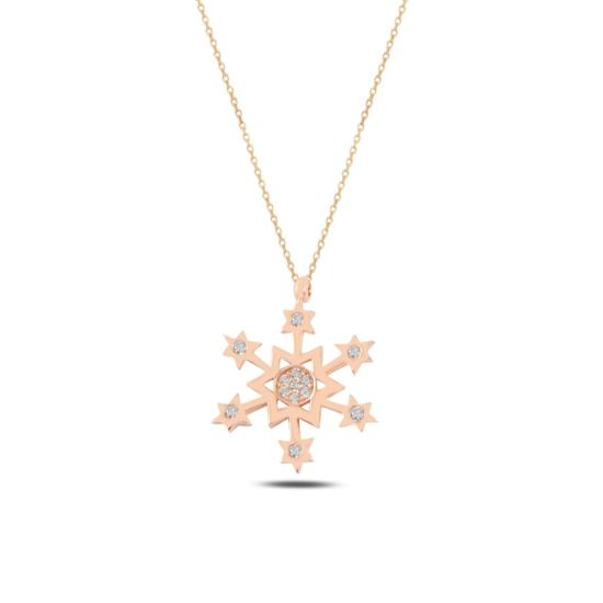 Ürün resmi: Rose Kaplama Kar Tanesi & Yıldız Zirkon Taşlı Gümüş Bayan Kolye