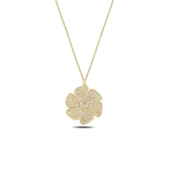 Ürün resmi: Altın Kaplama Çiçek Zirkon Taşlı Gümüş Bayan Kolye