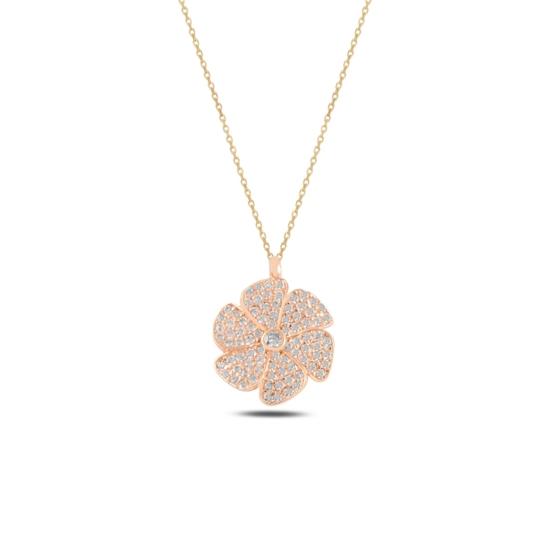 Ürün resmi: Rose Kaplama Çiçek Zirkon Taşlı Gümüş Bayan Kolye