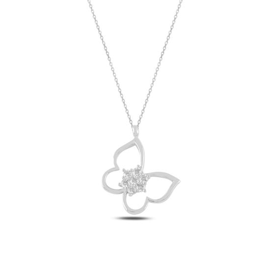 Ürün resmi: Rodyum Kaplama Kelebek Zirkon Taşlı Gümüş Bayan Kolye