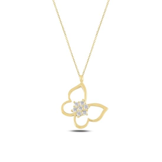 Ürün resmi: Altın Kaplama Kelebek Zirkon Taşlı Gümüş Bayan Kolye