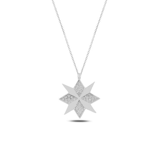Ürün resmi: Rodyum Kaplama Pusula Zirkon Taşlı Gümüş Bayan Kolye