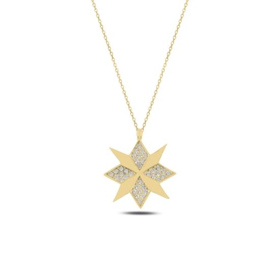 Ürün resmi: Altın Kaplama Pusula Zirkon Taşlı Gümüş Bayan Kolye