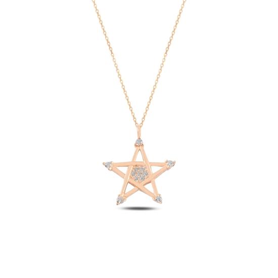 Ürün resmi: Rose Kaplama Yıldız Zirkon Taşlı Gümüş Bayan Kolye