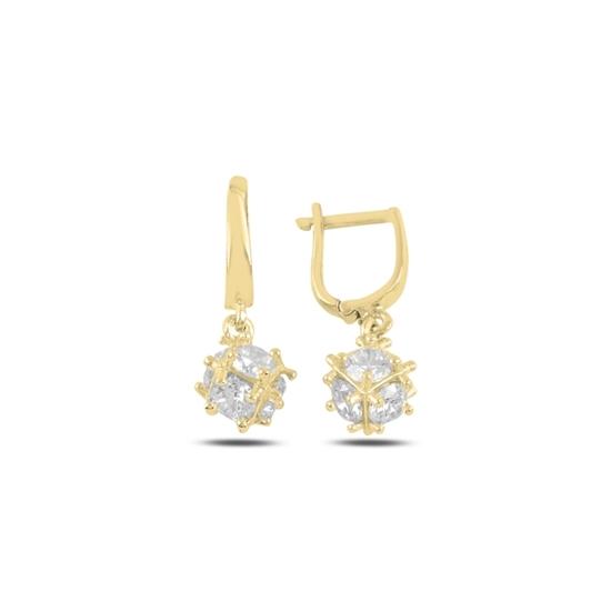 Ürün resmi: Altın Kaplama Baget Zirkon Taşlı Sallantılı Küp Gümüş Küpe