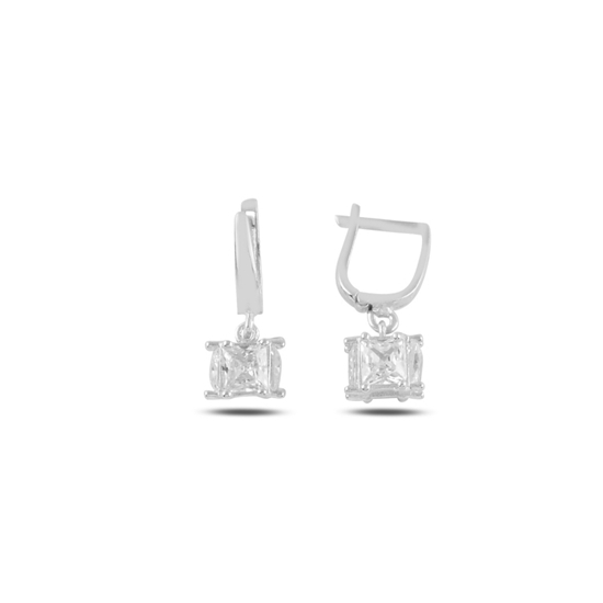 Ürün resmi: Rodyum Kaplama Baget Zirkon Taşlı Sallantılı Küp Gümüş Küpe