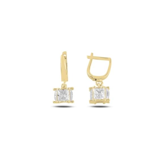 Ürün resmi: Rose Kaplama Baget Zirkon Taşlı Sallantılı Küp Gümüş Küpe