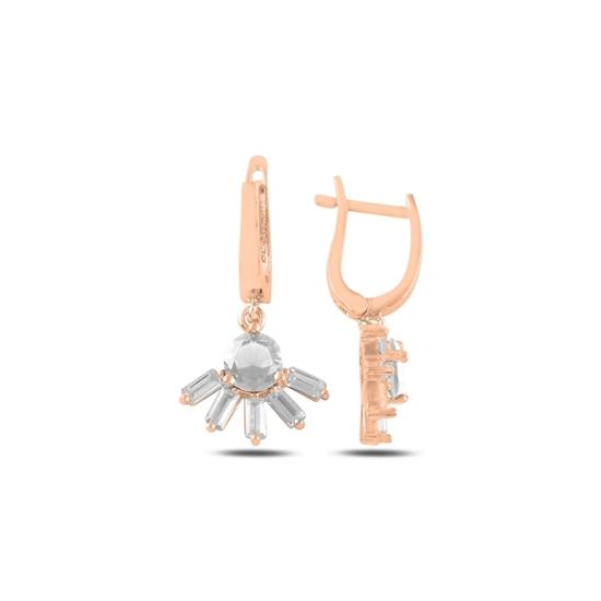Ürün resmi: Rose Kaplama Baget Zirkon Taşlı Gümüş Sallantılı Küpe