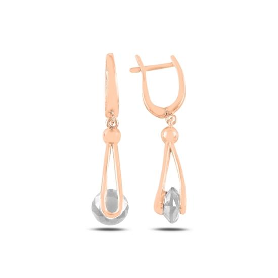 Ürün resmi: Rose Kaplama Zirkon Taşlı Gümüş Sallantılı Küpe
