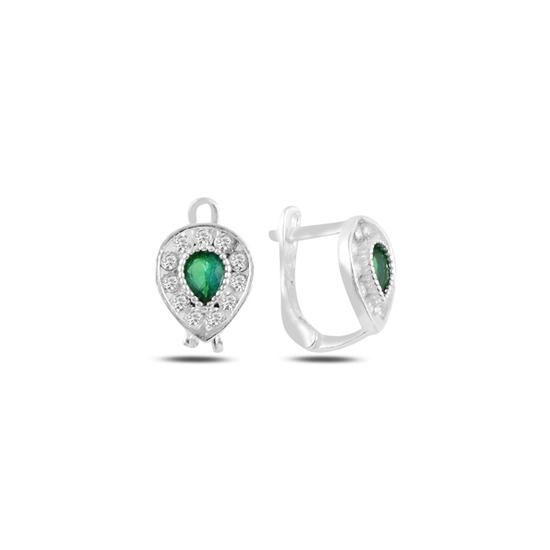 Ürün resmi: Zümrüt Zirkon (Yeşil) Damla Zirkon Taşlı Gümüş Kız Çocuk Küpe