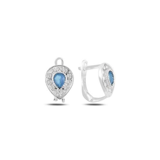 Ürün resmi: Akuamarin Zirkon (Açık Mavi) Damla Zirkon Taşlı Gümüş Kız Çocuk Küpe