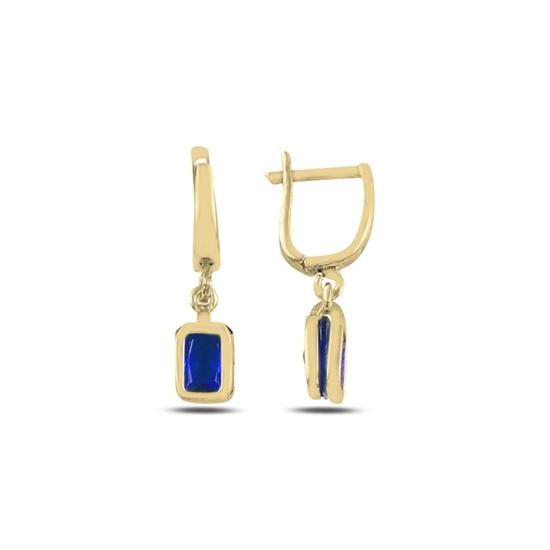 Ürün resmi: Altın Kaplama Safir Zirkon Taşlı Gümüş Sallantılı Küpe