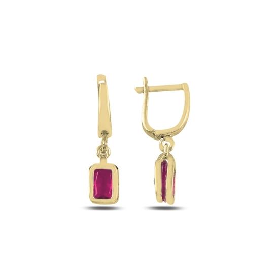 Ürün resmi: Altın Kaplama Yakut Zirkon Taşlı Gümüş Sallantılı Küpe