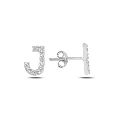 Resim Rodyum Kaplama -J- Harfi Gümüş Küpe