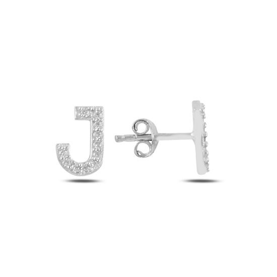 Ürün resmi: Rodyum Kaplama -J- Harfi Gümüş Küpe