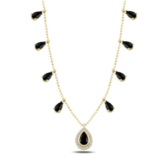 Ürün resmi: Altın Kaplama Damla Siyah Zirkon Taşlı Sallantılı Gümüş Bayan Kolye