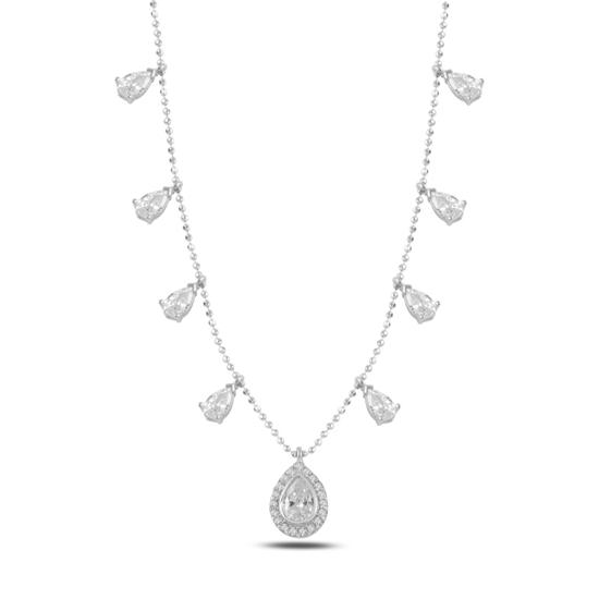 Ürün resmi: Rodyum Kaplama Damla Zirkon Taşlı Sallantılı Gümüş Bayan Kolye