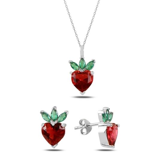 Ürün resmi: Rodyum Kaplama Çilek & Kalp Zirkon Taşlı Gümüş Bayan Set