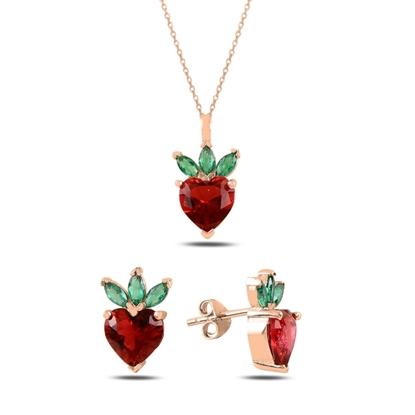 Resim Rose Kaplama Çilek & Kalp Zirkon Taşlı Gümüş Bayan Set