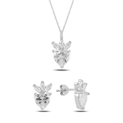 Resim Rodyum Kaplama Çilek & Kalp Zirkon Taşlı Gümüş Bayan Set