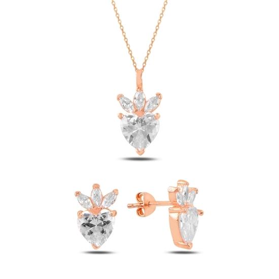 Ürün resmi: Rose Kaplama Çilek & Kalp Zirkon Taşlı Gümüş Bayan Set
