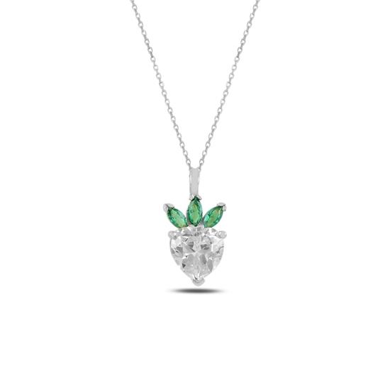 Ürün resmi: Rodyum Kaplama Çilek & Kalp Zirkon Taşlı Gümüş Bayan Kolye