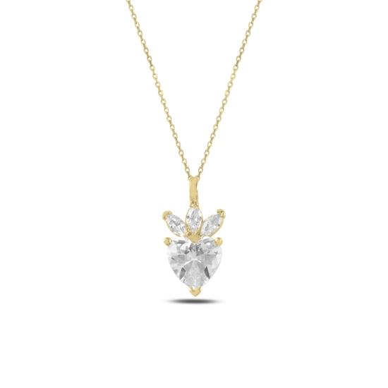 Ürün resmi: Altın Kaplama Çilek & Kalp Zirkon Taşlı Gümüş Bayan Kolye