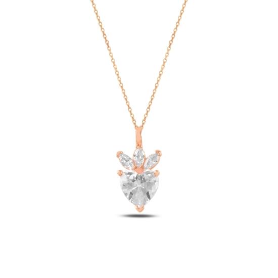 Ürün resmi: Rose Kaplama Çilek & Kalp Zirkon Taşlı Gümüş Bayan Kolye