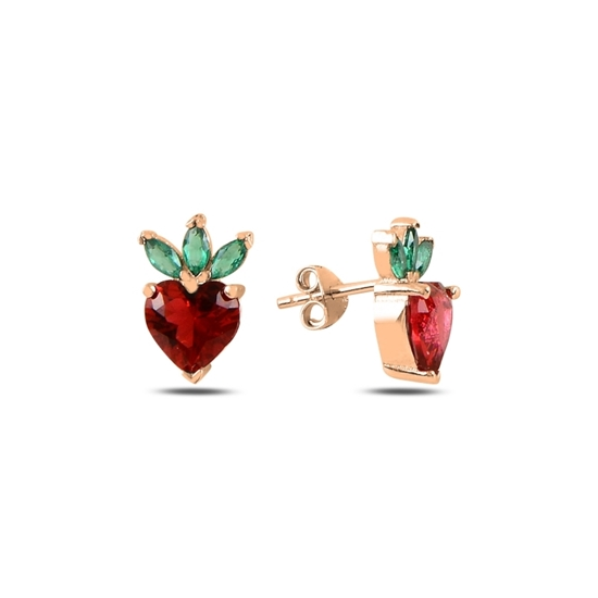 Ürün resmi: Rose Kaplama Çilek & Kalp Zirkon Taşlı Gümüş Küpe