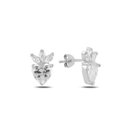 Ürün resmi: Rodyum Kaplama Çilek & Kalp Zirkon Taşlı Gümüş Küpe