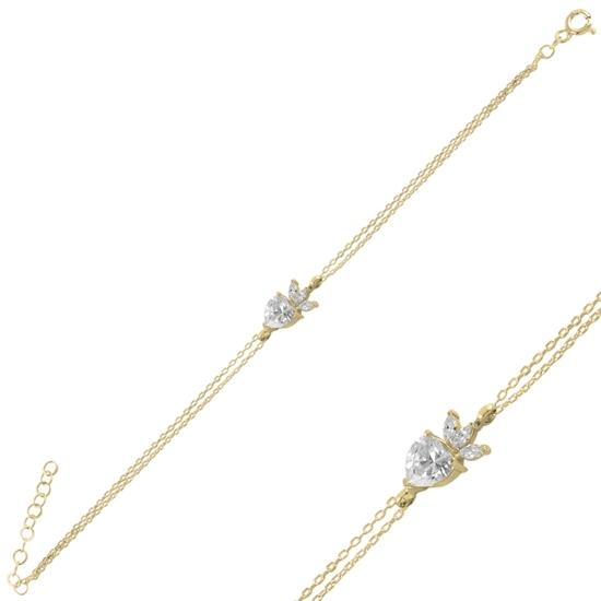 Ürün resmi: Altın Kaplama Çilek & Kalp Zirkon Taşlı Gümüş Bayan Bileklik