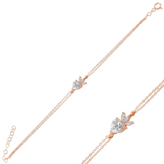 Ürün resmi: Rose Kaplama Çilek & Kalp Zirkon Taşlı Gümüş Bayan Bileklik