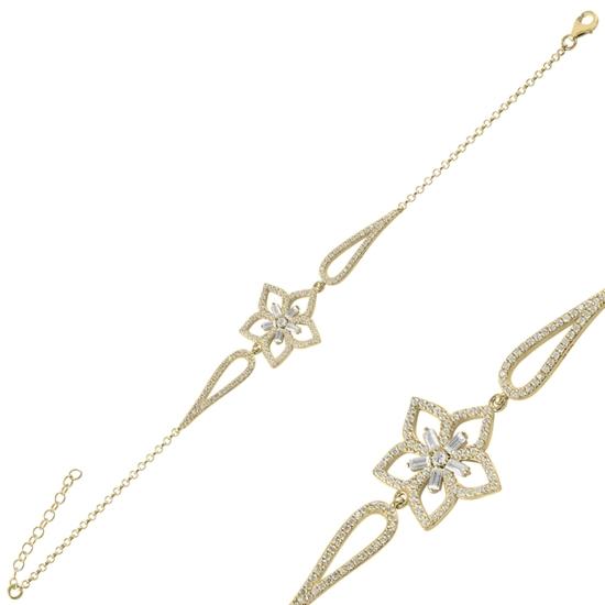 Ürün resmi: Altın Kaplama Çiçek Baget Zirkon Taşlı Gümüş Bayan Bileklik