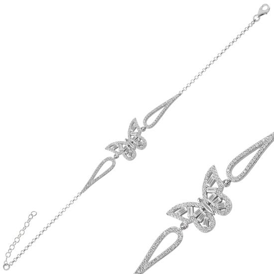 Ürün resmi: Rodyum Kaplama Kelebek Baget Zirkon Taşlı Gümüş Bayan Bileklik