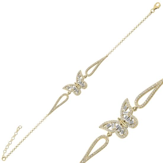 Ürün resmi: Altın Kaplama Kelebek Baget Zirkon Taşlı Gümüş Bayan Bileklik