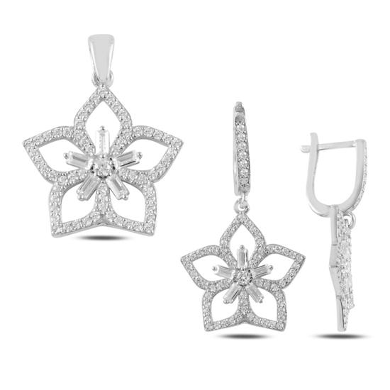 Ürün resmi: Rodyum Kaplama Çiçek Baget Zirkon Taşlı Gümüş Bayan Set