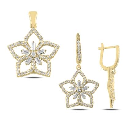 Resim Altın Kaplama Çiçek Baget Zirkon Taşlı Gümüş Bayan Set