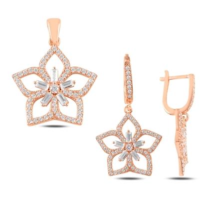 Resim Rose Kaplama Çiçek Baget Zirkon Taşlı Gümüş Bayan Set