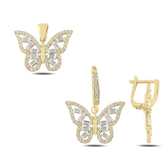 Ürün resmi: Altın Kaplama Kelebek Baget Zirkon Taşlı Gümüş Bayan Set