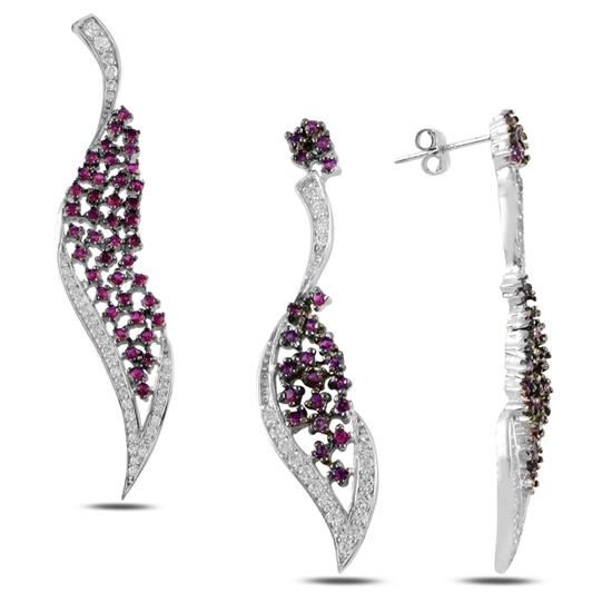 Ürün resmi: Yakut Zirkon (Pembe) Zirkon Taşlı Gümüş Bayan Set