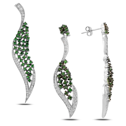 Resim Zümrüt Zirkon (Yeşil) Zirkon Taşlı Gümüş Bayan Set