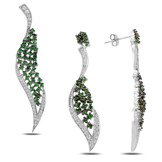 Ürün resmi: Zümrüt Zirkon (Yeşil) Zirkon Taşlı Gümüş Bayan Set