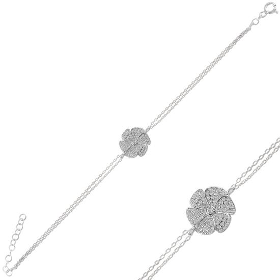 Ürün resmi: Rodyum Kaplama Çiçek Zirkon Taşlı Gümüş Bayan Bileklik