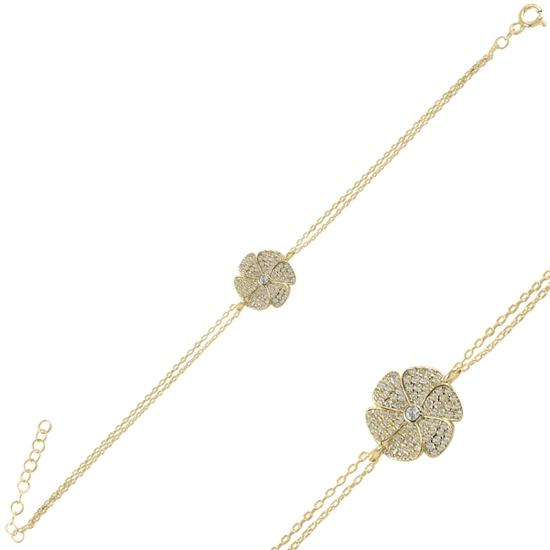 Ürün resmi: Altın Kaplama Çiçek Zirkon Taşlı Gümüş Bayan Bileklik