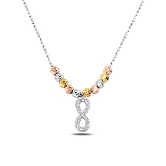Ürün resmi: Rodyum Kaplama Zirkon Taşlı Sonsuzluk & Dorica Toplu Zirkon Taşlı Gümüş Bayan Kolye