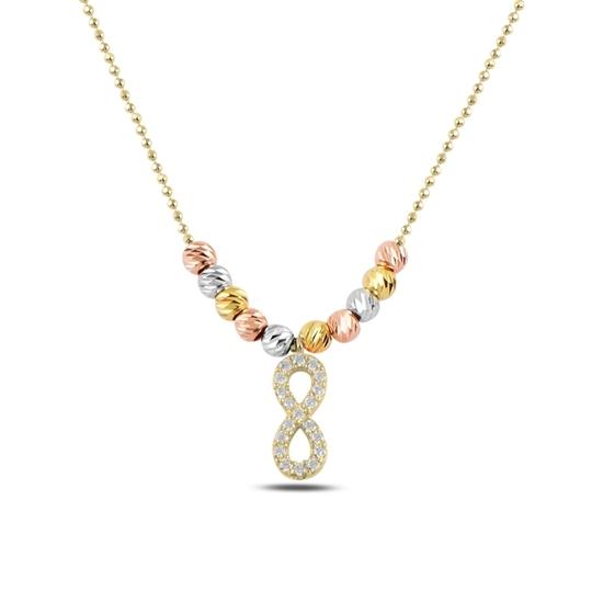 Ürün resmi: Altın Kaplama Zirkon Taşlı Sonsuzluk & Dorica Toplu Zirkon Taşlı Gümüş Bayan Kolye