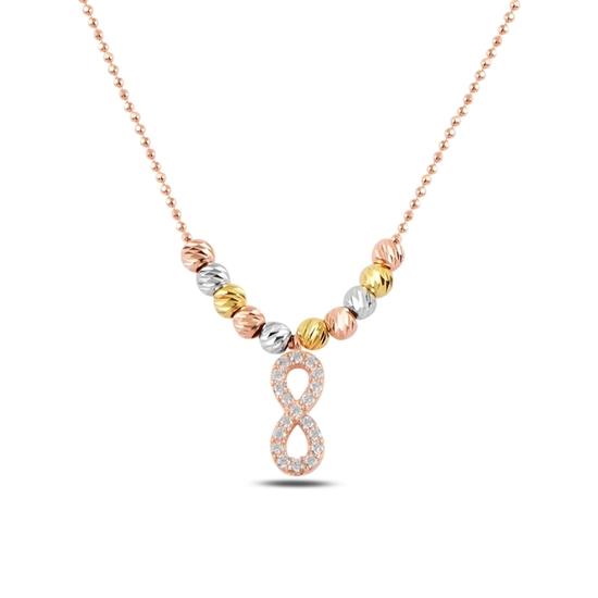 Ürün resmi: Rose Kaplama Zirkon Taşlı Sonsuzluk & Dorica Toplu Zirkon Taşlı Gümüş Bayan Kolye